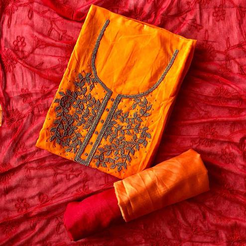 Beautiful Orange-Red Colored Designer Chanderi Cotton Dress Material
