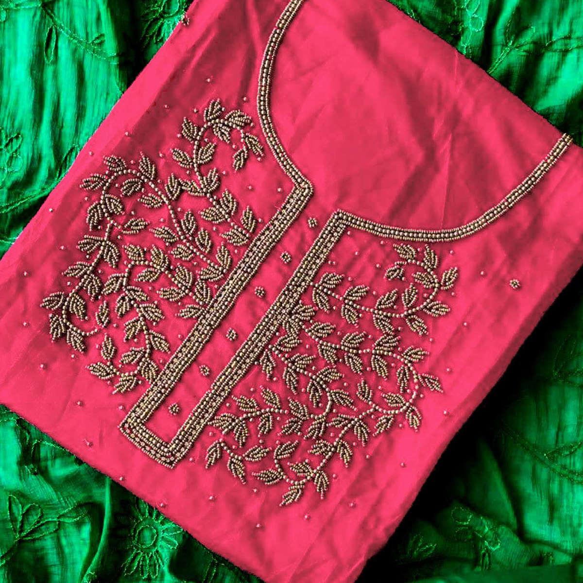 Gorgeous Magenta-Rama Green Colored Designer Chanderi Silk Dress Material