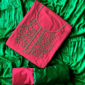 Gorgeous Magenta-Rama Green Colored Designer Chanderi Cotton Dress Material