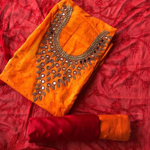 Graceful Orange-Red Colored Designer Chanderi Cotton Dress Material