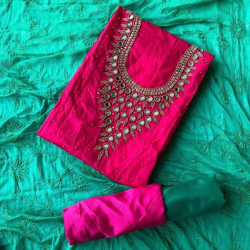 Delightful Deep Pink-Rama Green Colored Designer Chanderi Cotton Dress Material