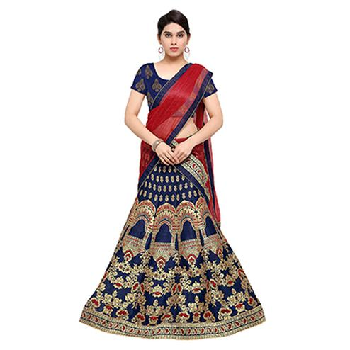 Beautiful Navy Blue Jacquard Lehenga Choli