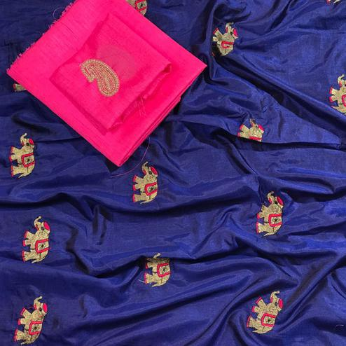 Mesmerising Navy Blue Colored Embroidered Party Wear Sana Silk Saree