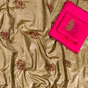 Ravishing Beige Colored Embroidered Party Wear Sana Silk Saree