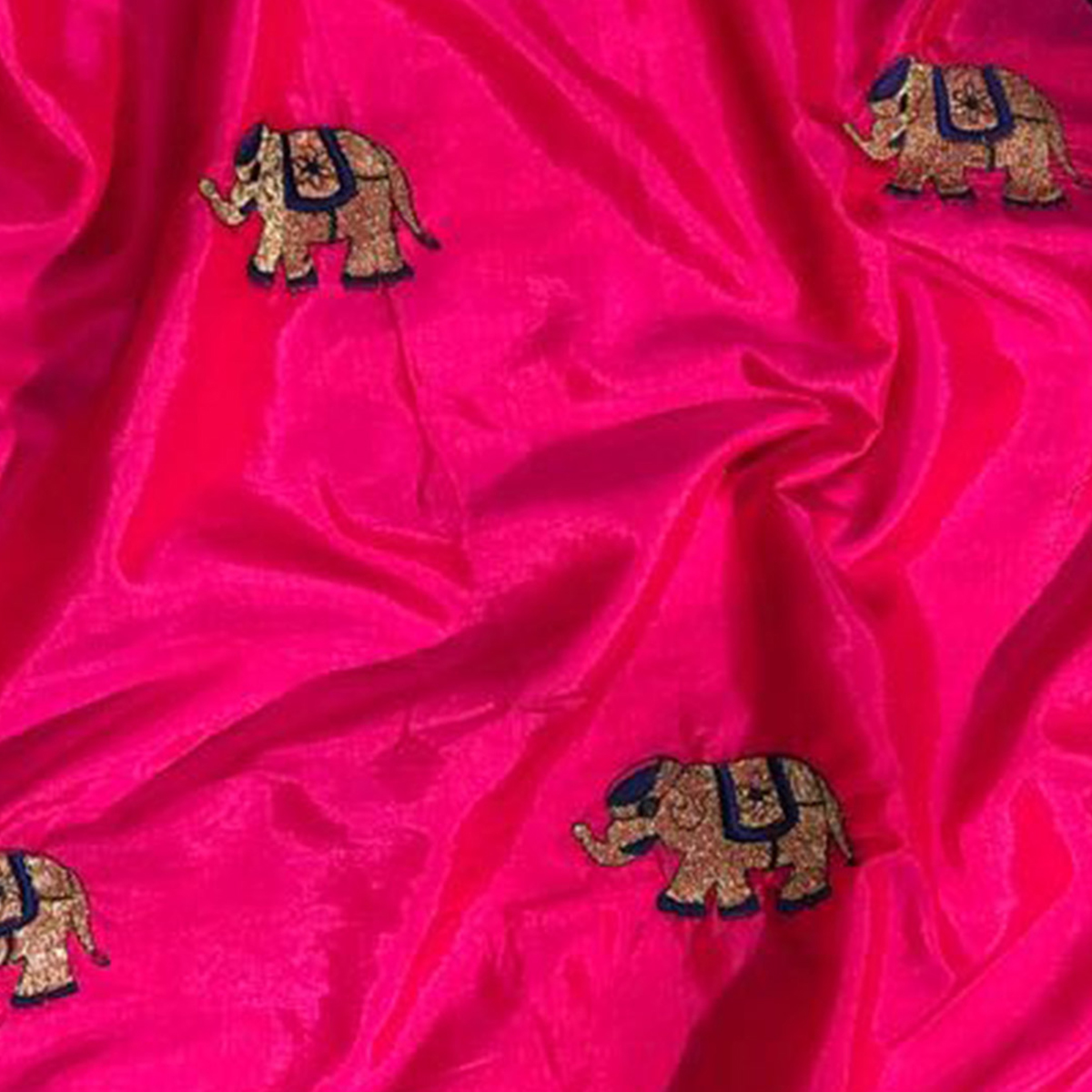 Amazing Deep Pink Colored Embroidered Party Wear Sana Silk Saree