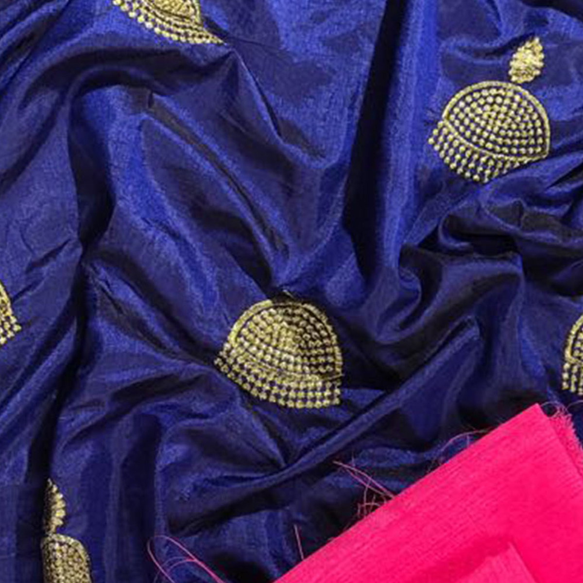 Exotic Navy Blue Colored Embroidered Party Wear Sana Silk Saree