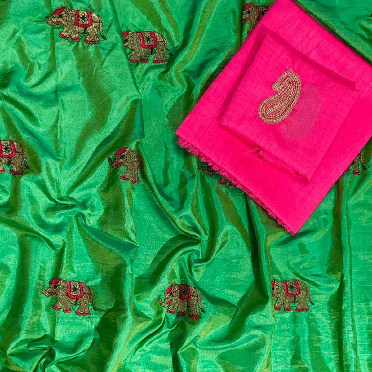 Majesty Green Colored Embroidered Party Wear Sana Silk Saree