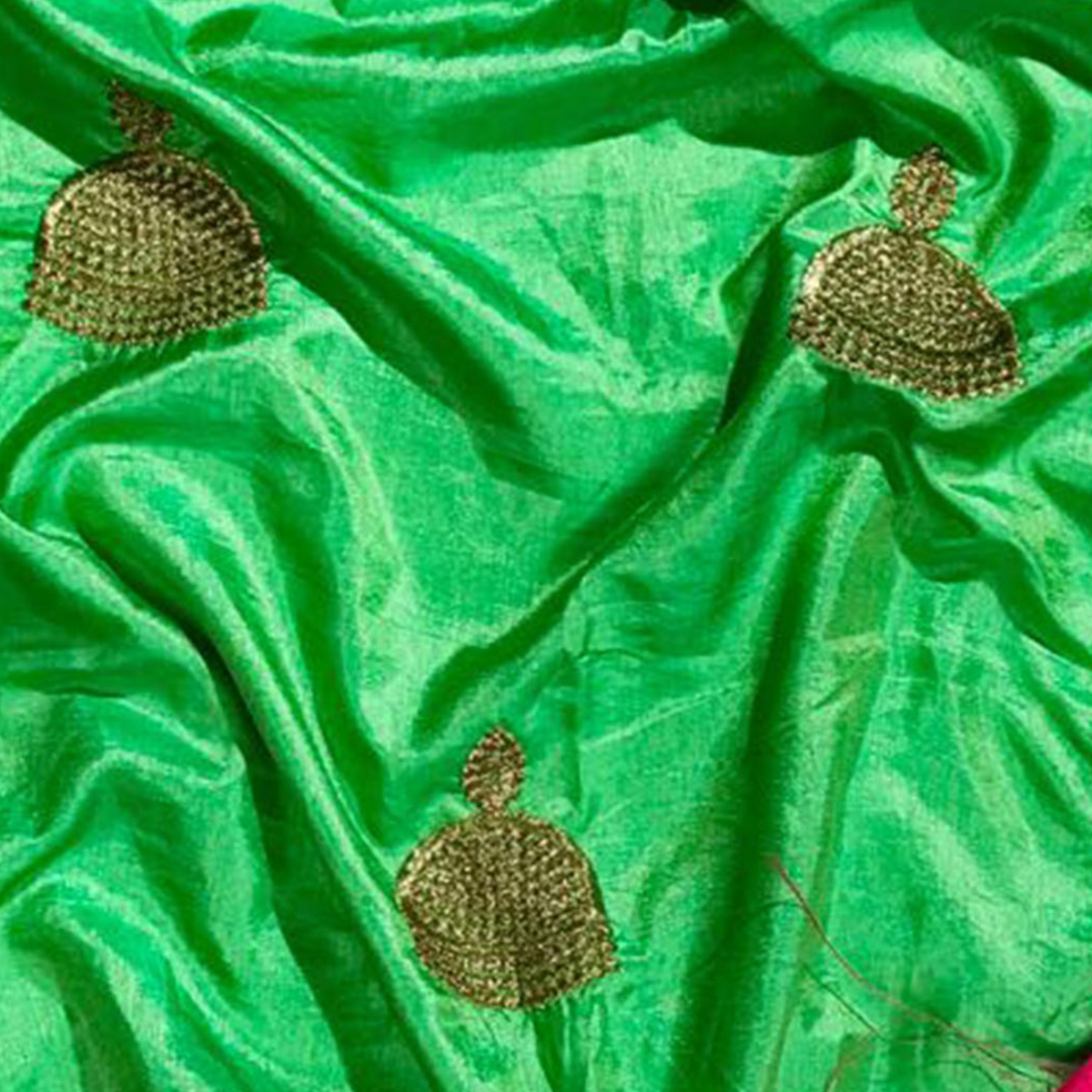 Preferable Green Colored Embroidered Party Wear Sana Silk Saree