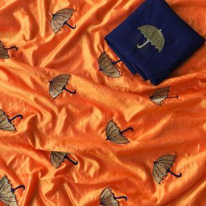 Deserving Orange Colored Embroidered Party Wear Sana Silk Saree