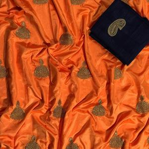 Extraordinary Orange Colored Embroidered Party Wear Sana Silk Saree