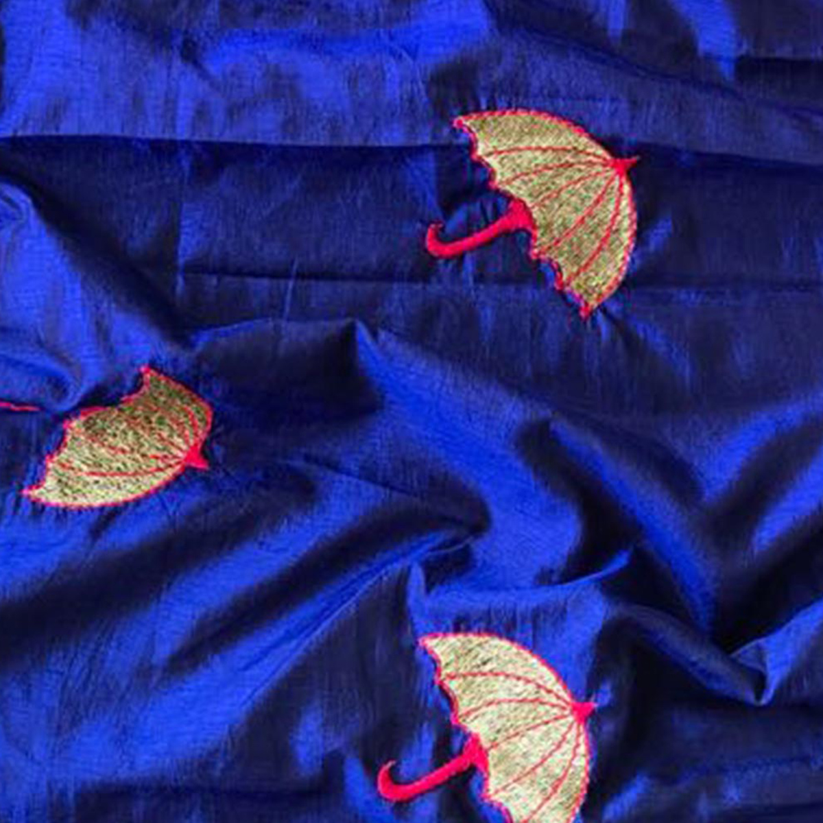 Energetic Navy Blue Colored Embroidered Party Wear Sana Silk Saree