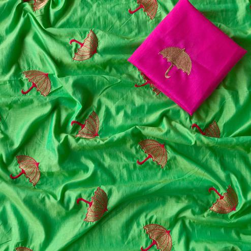 Glowing Green Colored Embroidered Party Wear Sana Silk Saree