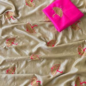 Snazzy Light Beige Colored Embroidered Party Wear Sana Silk Saree