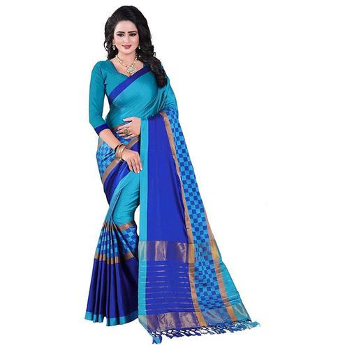 Pretty Sky Blue Colored Festive Wear Art Silk Saree