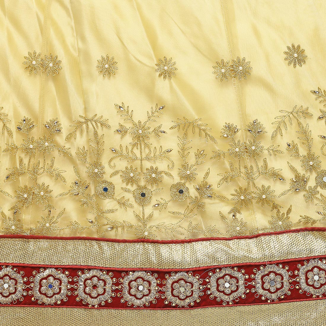 Cream Net And Velvet Lehenga choli