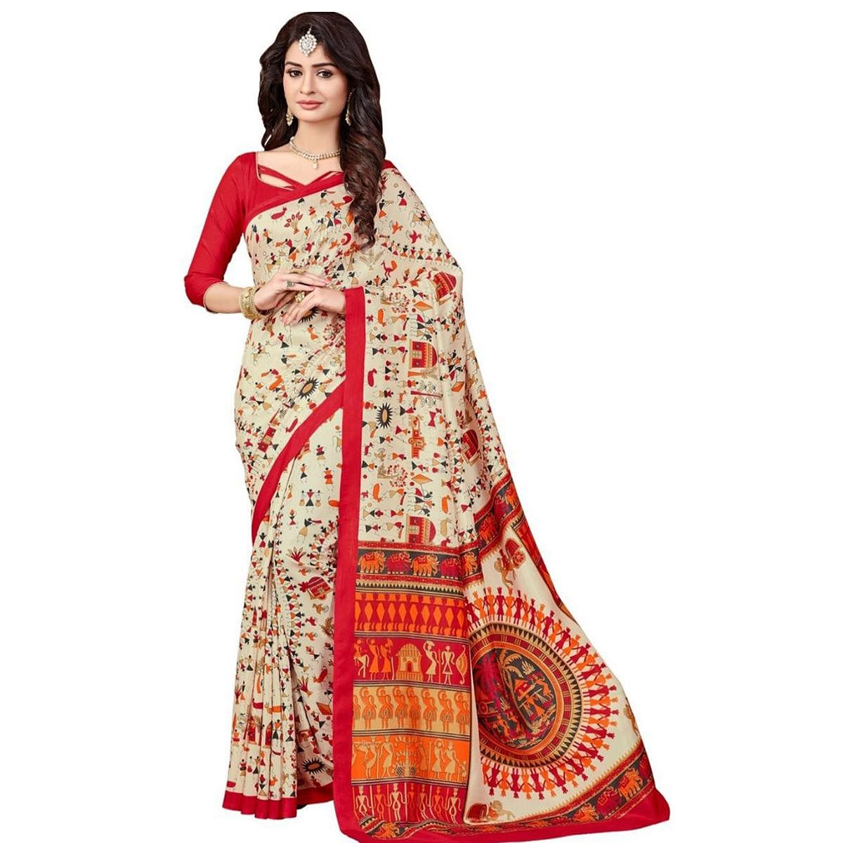 Ethnic Beige Colored Warli Printed Bhagalpuri Silk Saree