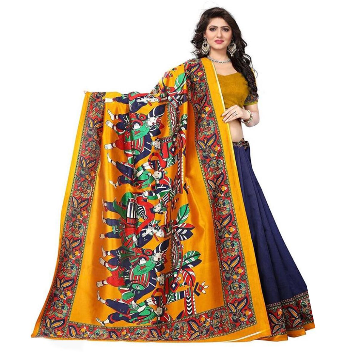 af9d55bd3 Buy Blissful Navy Blue-Mustard Yellow Colored Casual Printed Art Silk Saree  for women s online India
