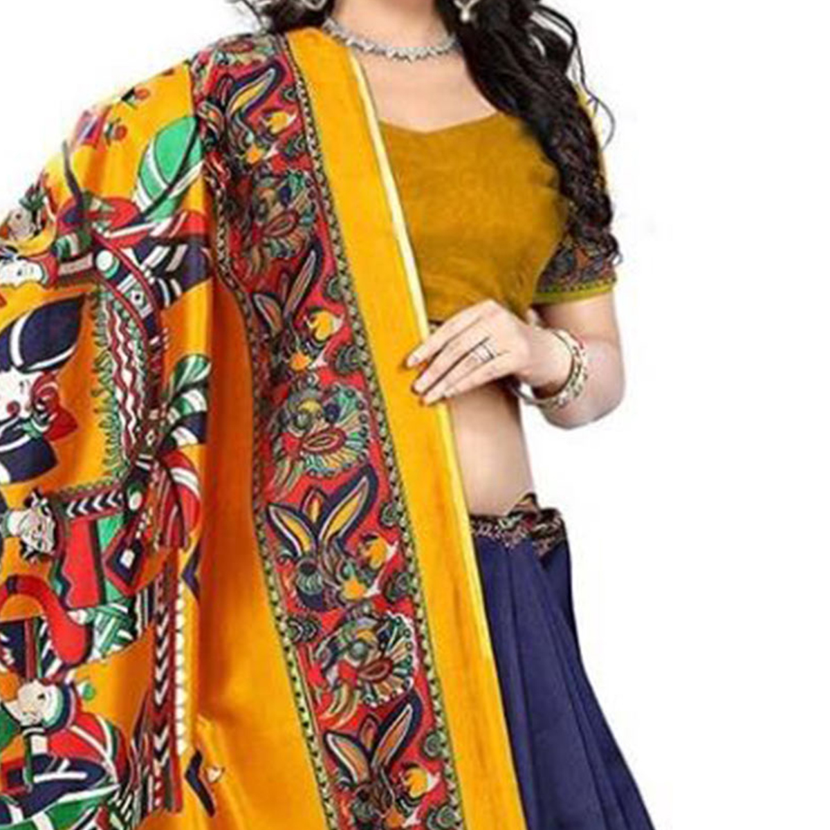 Blissful Navy Blue-Mustard Yellow Colored Casual Printed Art Silk Saree