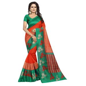Pretty Orange-Green Colored Printed Bhagalpuri Silk Saree