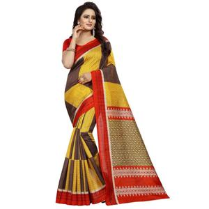 Lovely Yellow Colored Printed Bhagalpuri Silk Saree