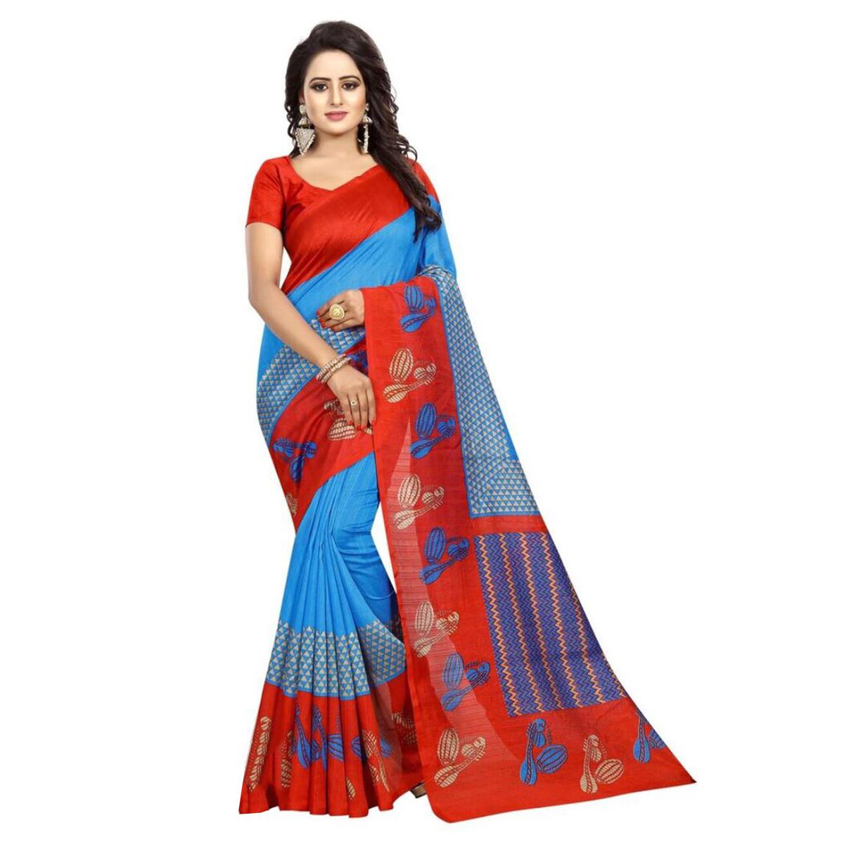 Staring Sky Blue Colored Printed Bhagalpuri Silk Saree