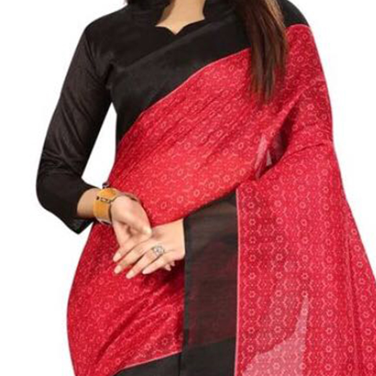 Precious Red-Black Colored Printed Bhagalpuri Silk Saree