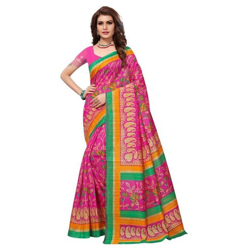 Adorning Pink Colored Printed Bhagalpuri Silk Saree