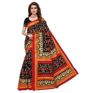 Beautiful Black Colored Printed Bhagalpuri Silk Saree