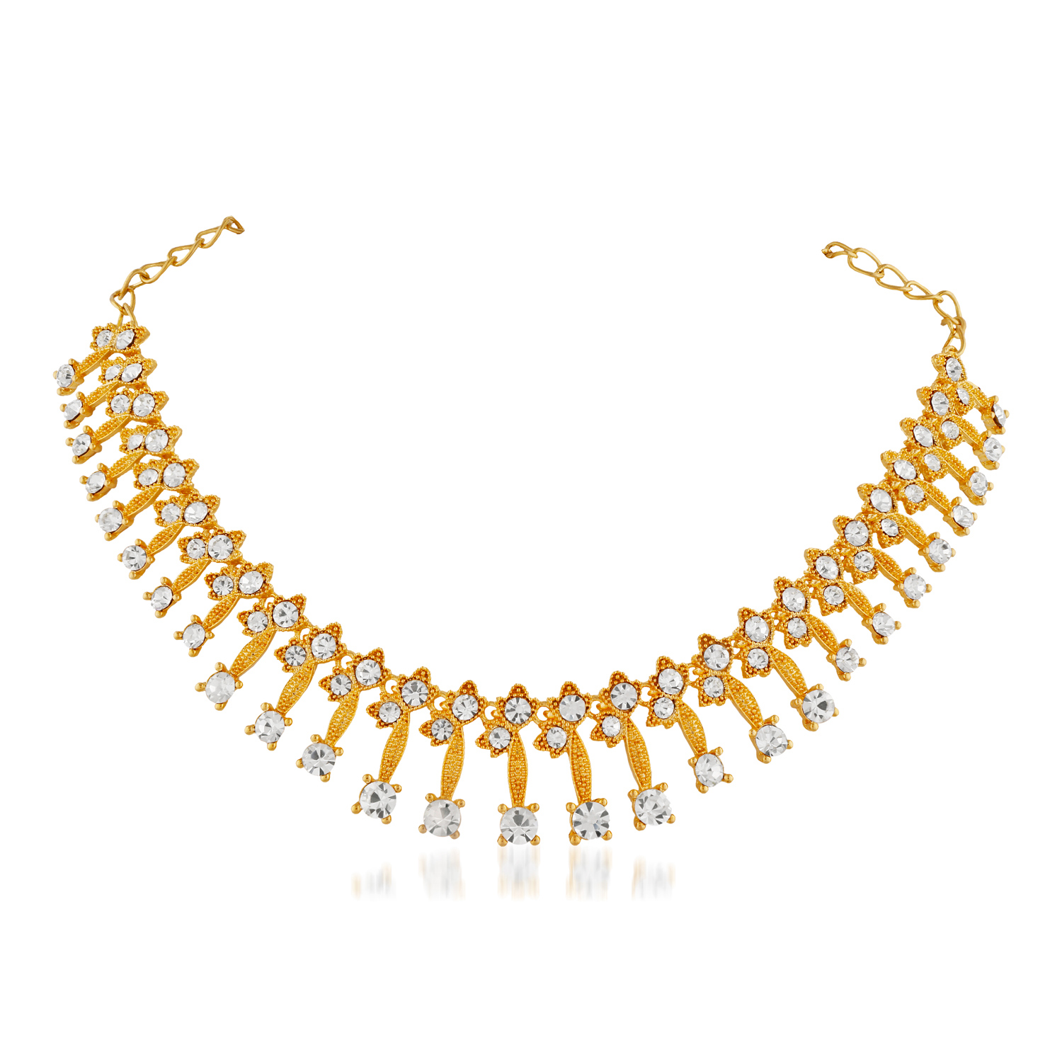 Alluring Design  Stone Gold Finishing Necklace Set