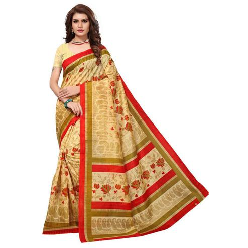 Deserving Beige Colored Printed Bhagalpuri Silk Saree