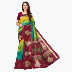 Radiant Multi Colored Printed Bhagalpuri Silk Saree
