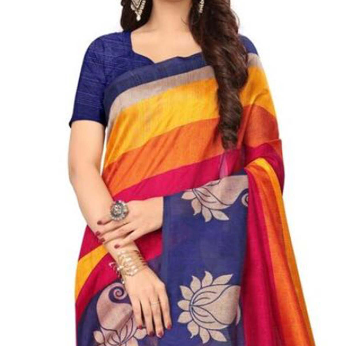 Alluring Multi Colored Printed Bhagalpuri Silk Saree