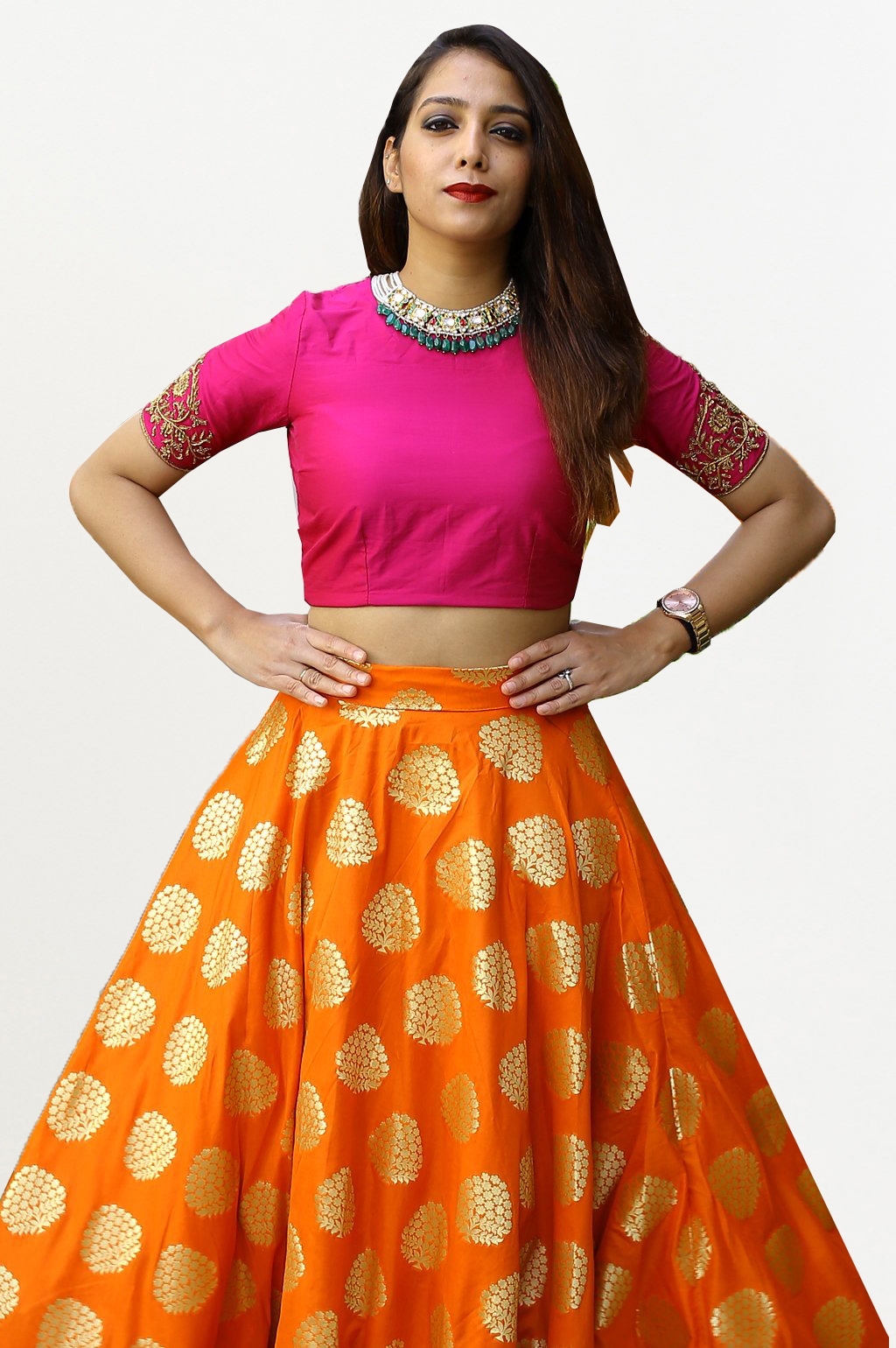 Elegant Orange-Pink Colored Designer Banarasi Silk Lehenga