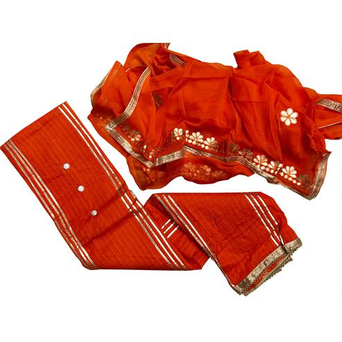 Mesmerising Orange Colored Partywear Modal Suit