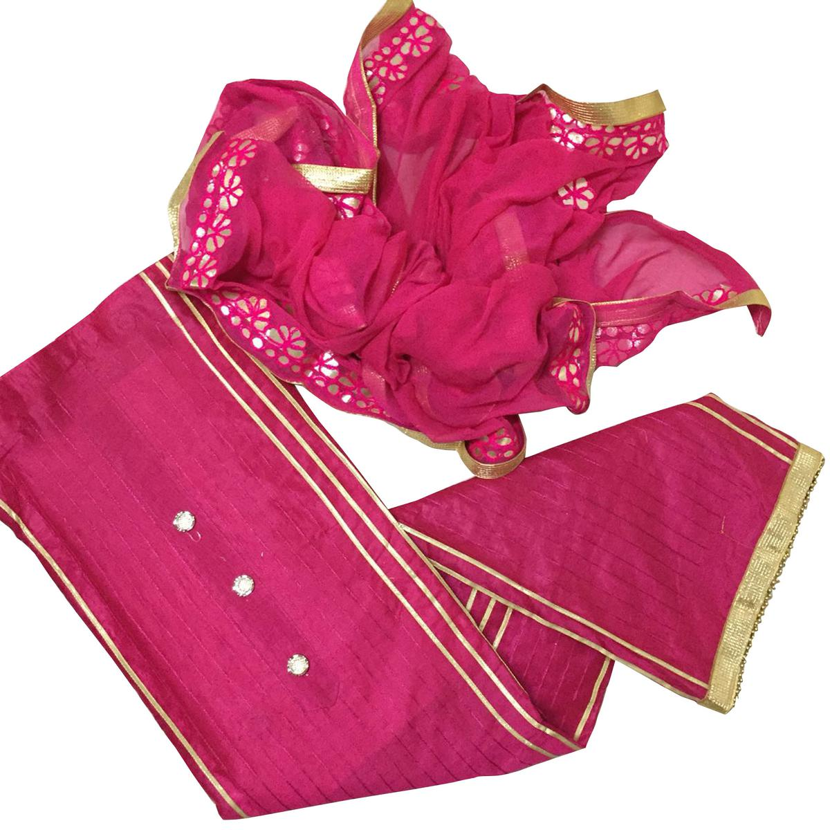 Beautiful Pink Colored Partywear Modal Suit