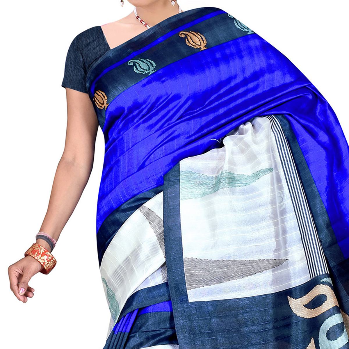 Blue Bhagalpuri Silk Saree
