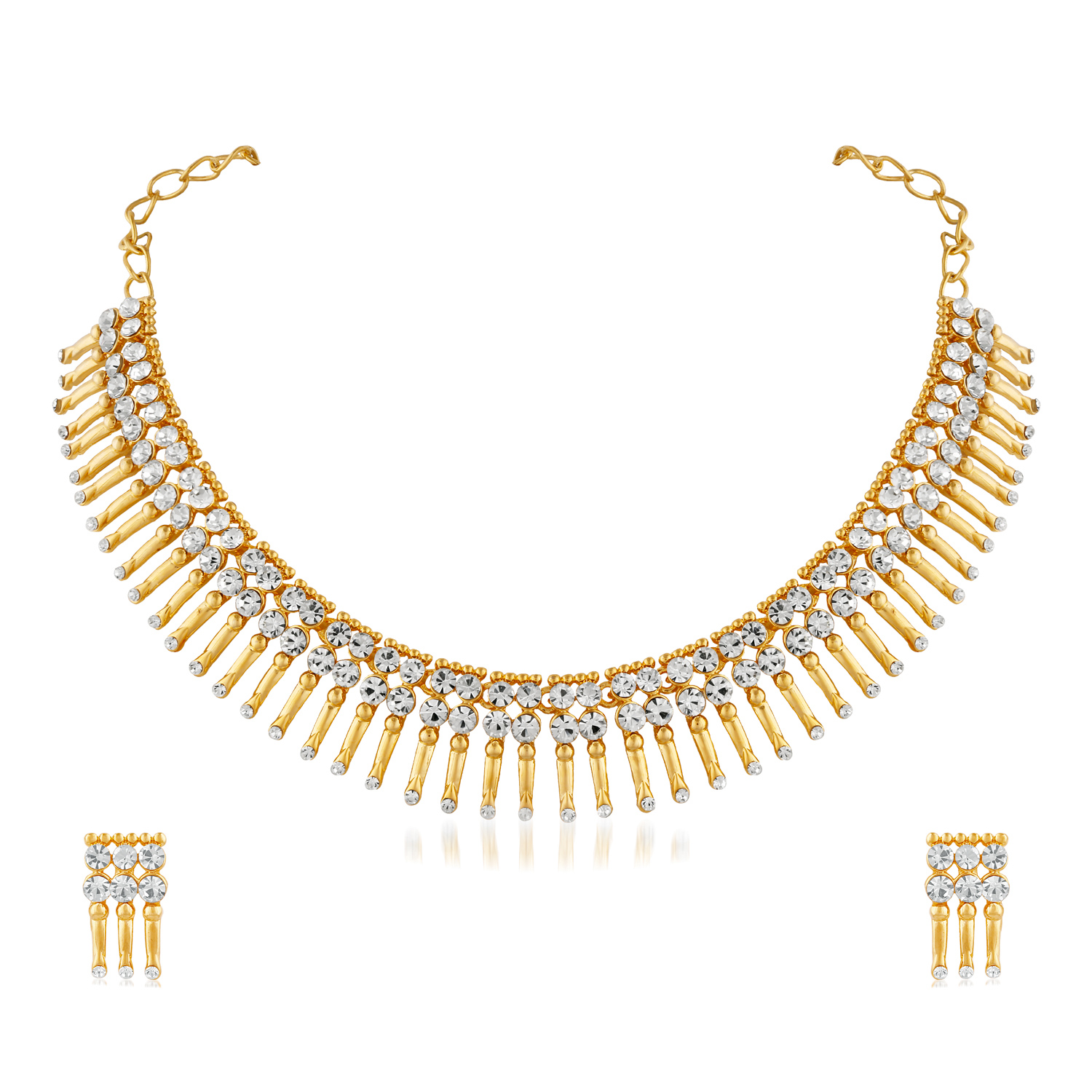 Gleaming Design Stone Gold Finishing Necklace Set