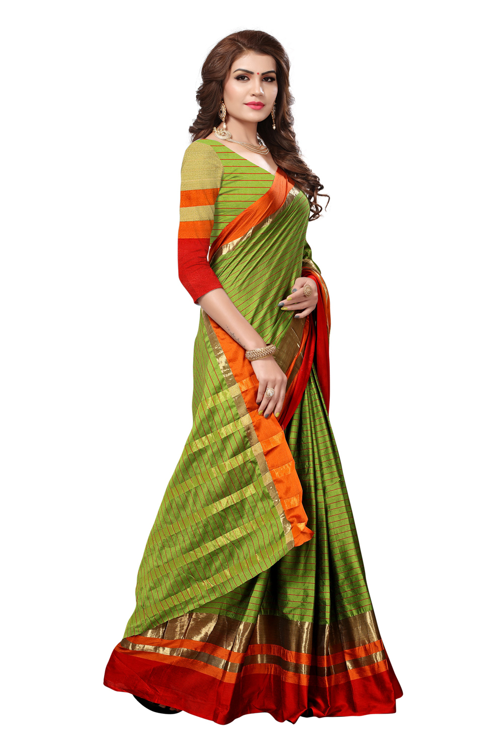Adorning Olive Green Colored Festive Wear Cotton Silk Saree