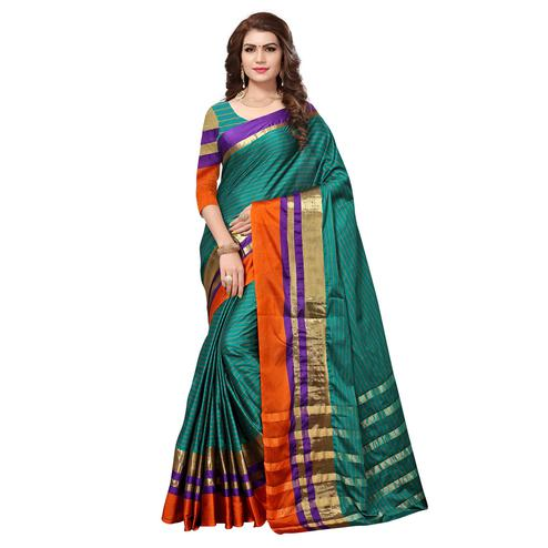 Prominent Rama Green Colored Festive Wear Cotton Silk Saree