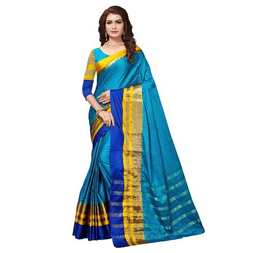 Deserving Blue Colored Festive Wear Cotton Silk Saree