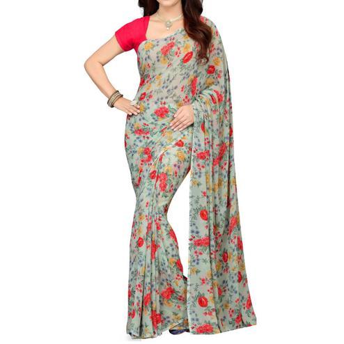 Gorgeous Grey Colored Casual Wear Floral Printed Georgette Saree