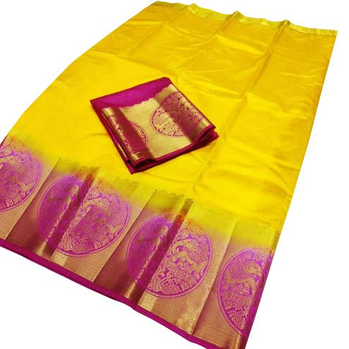 Glowing Yellow-Pink Colored Festive Wear Cotton Silk Saree