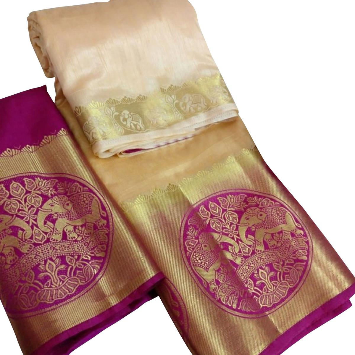 Prominent Cream Colored Festive Wear Cotton Silk Saree