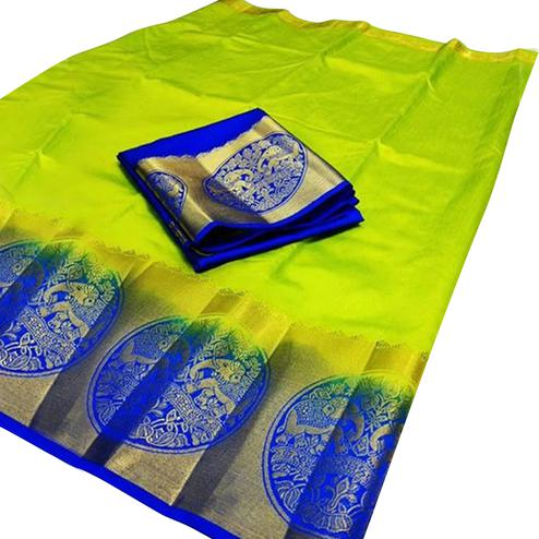 Adorable Light Green Colored Festive Wear Cotton Silk Saree