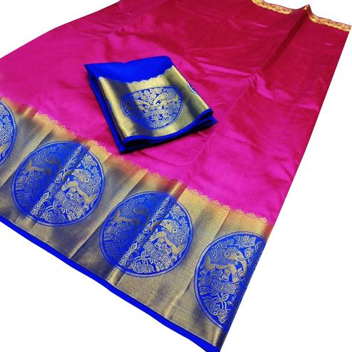 Alluring Pink-Blue Colored Festive Wear Cotton Silk Saree
