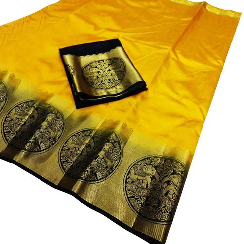 Majesty Yellow Colored Festive Wear Cotton Silk Saree