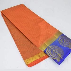 Pleasant  Orange Colored Festive Wear Cotton Silk Saree