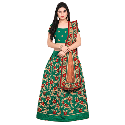 Green Art Silk Aari Embroidered Lehenga Choli