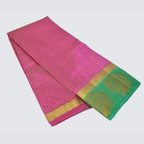 Adorning Pink Colored Festive Wear Cotton Silk Saree