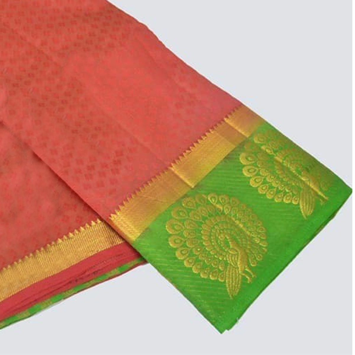 Demanding  Peach Colored Festive Wear Cotton Silk Saree